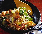 Glass noodles with tiger prawns