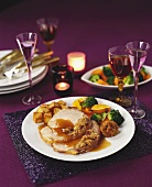 Roast pork with cranberry and chestnut stuffing