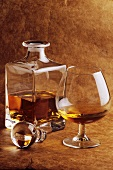 Cognac in a decanter and a glass