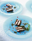 Fish terrine with aubergines and peppers