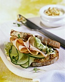 Turkey and cucumber sandwich in farmhouse bread