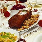 Goose with bread stuffing