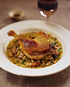 Duck confit on flageolet beans
