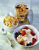 Berries & sea buckthorn in cultured milk, orange-, fruit muesli