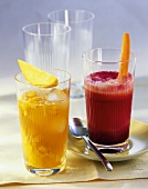 Mango iced tea and beetroot juice with carrot