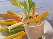Vegetable sticks with tuna dip