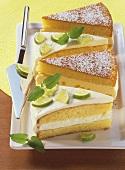 Lime cake and cheesecake