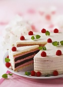 Festive raspberry cream cake