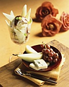 Gorgonzola with pears and grapes and ice cream sundae