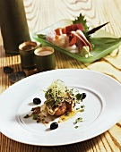 Gnocchi with enokitake mushrooms and cress