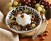 Muesli with grapes and natural yoghurt