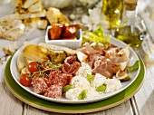 Plate of mixed antipasti