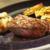 Grilled entrecote steak with vegetables