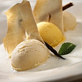 Vanilla and mango ice cream with biscuit on vanilla whip
