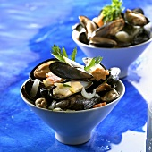 Small bowl of cooked mussels and vegetables