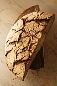 Halved loaf of bread