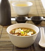 Japanese beef broth with tofu cubes