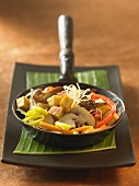 Korean glass noodle stir-fry with tofu and vegetables
