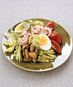 Plate of salad with seafood
