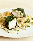 Monkfish with spinach and tagliatelle