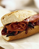 Pastrami and onion jam in a sandwich