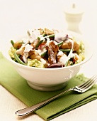 Vegetable salad with chicken and yoghurt dressing