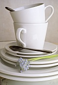 White coffee cups with saucers and plates