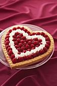Heart-shaped raspberry flan