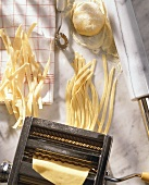 Pasta maker with home-made ribbon pasta