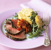 Roast beef with Parmesan crisps and rocket