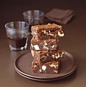 Brownies with white chocolate chips and espresso