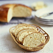 French yeast cake, sliced