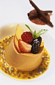 Coffee pudding with fresh fruit on passion fruit sauce