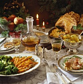 Christmas meal: roast turkey, salmon salad and vegetables