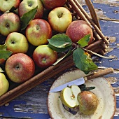 Apples on tray and plate