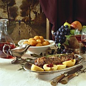Saddle of venison with apples