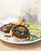 Portobello mushrooms with herbs on toasted roll
