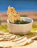 Pudina ka pachadi (mint chutney, India) with poppadom