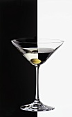 Martini with olive, black & white