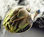 Steaming artichoke on skimmer