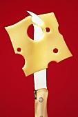 Eine Scheibe Emmentaler hängt an einem Käsemesser