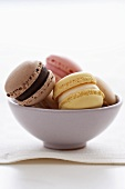 Assorted Luxemburgerli (filled macaroon biscuits) in a bowl