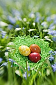 An Easter nest with coloured eggs in a flowery meadow