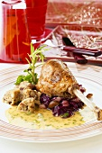 Turkey leg with chestnut and cranberry stuffing