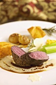 Venison medallion with assorted accompaniments