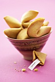 Fortune cookies in a small bowl