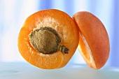 A halved apricot