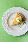 A piece of lemon quark pie