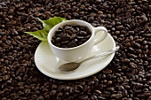 Coffee beans in a cup and forming the background