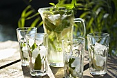 Iced tea with lime and mint